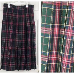 Pendleton Virgin Wool Green Plaid Pleated Skirt